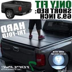 Topline Autopart Tri Fold Hard Truck Bed Tonneau Cover With